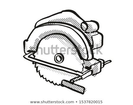 Circular Saw Power Tool Equipment Cartoon Retro Drawing Stock photo © patrimonio