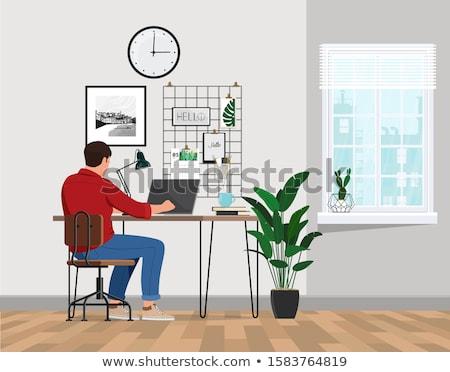 Adam çalışma dizüstü bilgisayar ev serbest vektör Stok fotoğraf © robuart