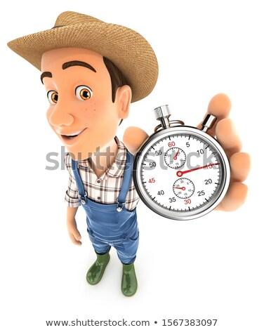 3d farmer holding a stopwatch Stock photo © 3dmask