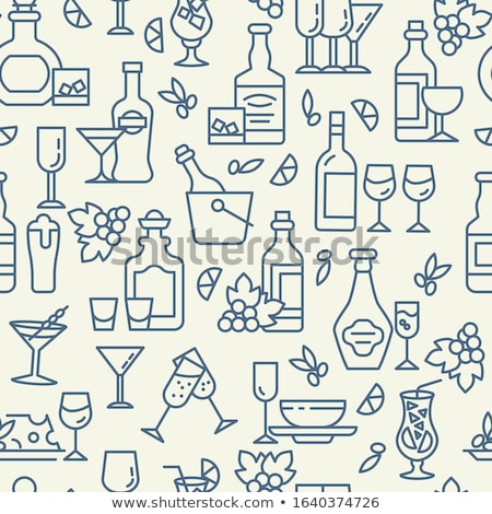 Beer and snacks linear seamless pattern Stock photo © barsrsind