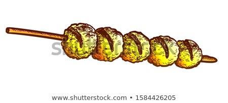 Cheese Balls Fried Kebab Fastfood Retro Vector Stock photo © pikepicture