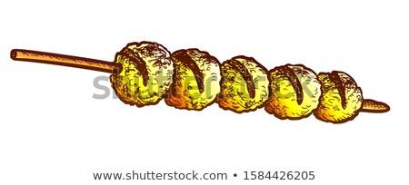 Sajt golyók sült kebab retro vektor Stock fotó © pikepicture