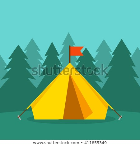 Tent flat color illustration Stock photo © barsrsind