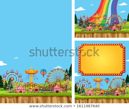 Three scenes fo circus with many rides Stock photo © bluering