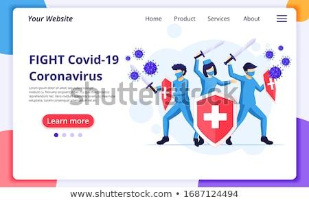 Coronavirüs önleme iniş sayfa dizayn Stok fotoğraf © Anna_leni