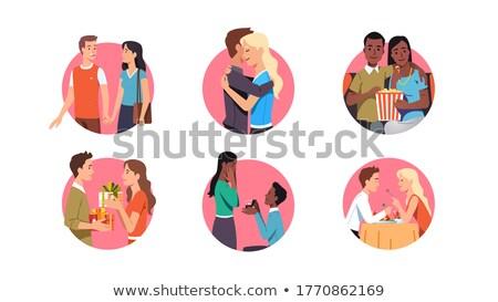Data Pareja ofrecer matrimonio amor vector Foto stock © robuart