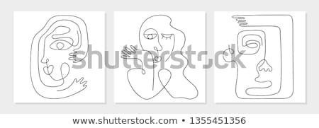 Adatbázis egy személy ikon vektor skicc illusztráció Stock fotó © pikepicture