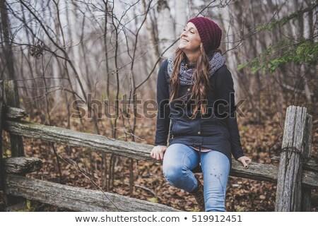 Najaar vrouw vallen tijd maand boom Stockfoto © Lopolo