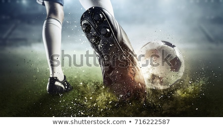 Boy kicking soccer ball Stock photo © olira