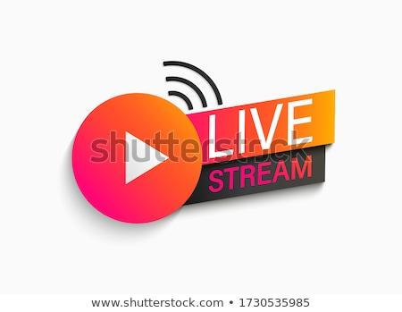 ライブ ストリーム ロゴデザイン デザインテンプレート コンピュータ ニュース ストックフォト © Ggs