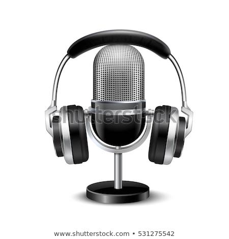 realistic retro microphone and headphones stock photo © dvarg