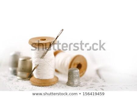 Naald draad traditioneel naaien jute oppervlak Stockfoto © angelsimon