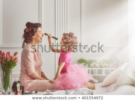愛する 母親 娘 忙しい 話し 作業 ストックフォト © absoluteindia