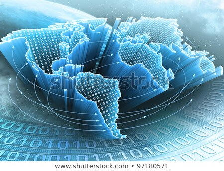 World Map interconnected by wire (Fiber Optics) of the informati Stock photo © HASLOO