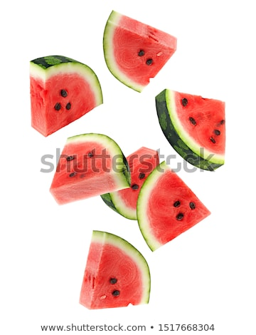 Set of fresh slices and full a ripe watermelons Stock photo © boroda