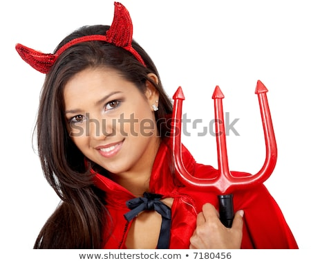 red devil girl in fancy dress stock photo © dolgachov