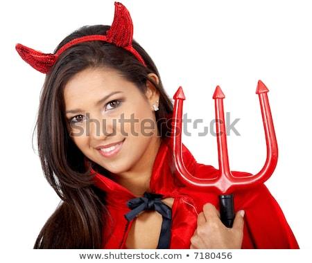 Piros ördög lány jelmez fehér nő Stock fotó © dolgachov