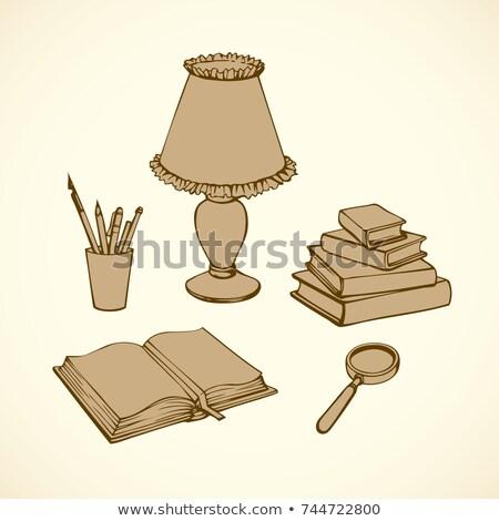 虫眼鏡 · 古い · 図書 · スタック · アンティーク · 木製のテーブル - ストックフォト © pzaxe