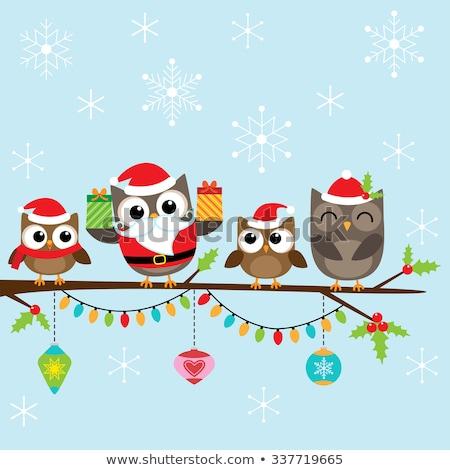 Сток-фото: Owl Family At Tree Christmas Banner