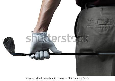 Golfozó tart golfütők férfi portré szabadidő Stock fotó © photography33