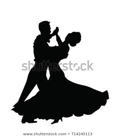Sylwetki sala balowa tancerzy kobieta miłości sexy Zdjęcia stock © huhulin