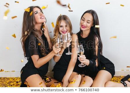 Stockfoto: Vrouw · vergadering · vloer · bril · jurk