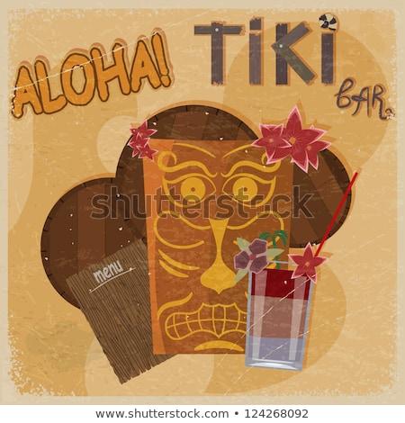 Vintage postcard - for tiki bar sign - featuring Hawaiian masks, Stock photo © Larser