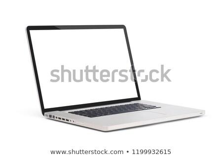 Stok fotoğraf: Yeni · gümüş · dizüstü · bilgisayar · alüminyum · yalıtılmış · beyaz