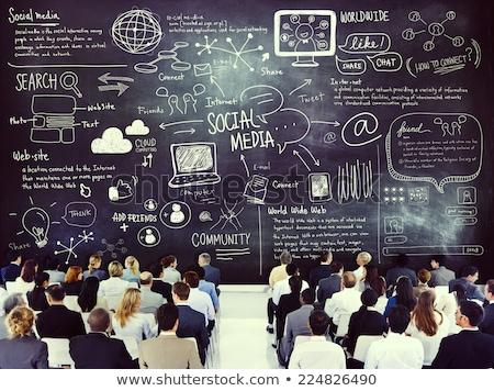 közösségi · média · iskolatábla · üzletember · kéz · üzlet · internet - stock fotó © matteobragaglio