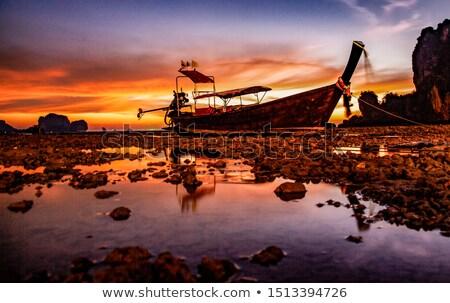 barcos · puesta · de · sol · Tailandia · barco · silueta · Asia - foto stock © mikdam
