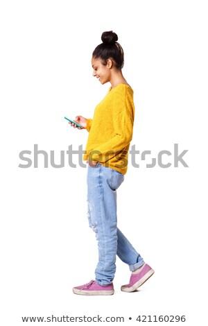 Egészalakos nő portré fehér izolált számítógép nők Stock fotó © lunamarina