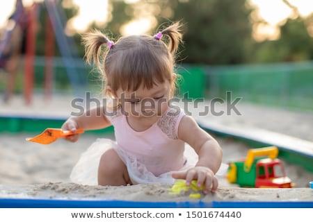 kettő · gyönyörű · kislányok · szabadtér · játszótér · nyáridő - stock fotó © lunamarina