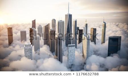 kék · tükör · üveg · homlokzat · felhőkarcoló · épületek - stock fotó © arenacreative