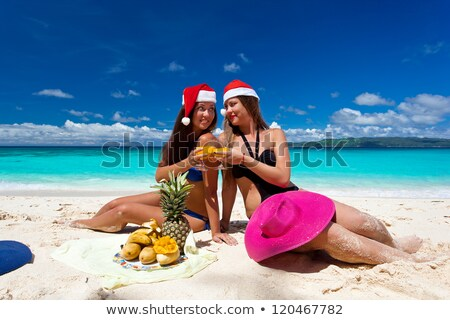 sexo · playa · foto · fresa · pina · vidrio - foto stock © bigjohn36