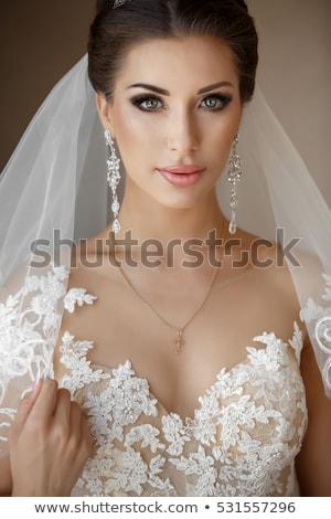 Güzel esmer çiçek moda stil kız Stok fotoğraf © pandorabox