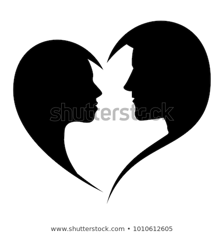 Couple faces heart silhouette Stock photo © Krisdog