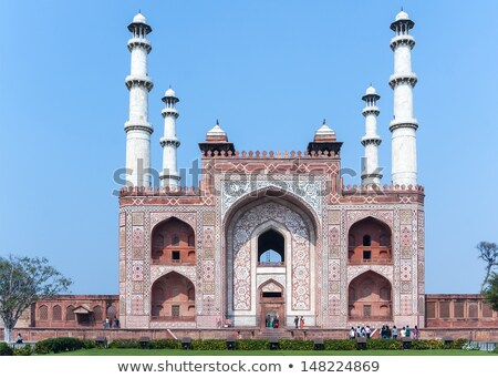 Tomb of Akbar with its four minarets in India's Agra. stock photo © Klodien