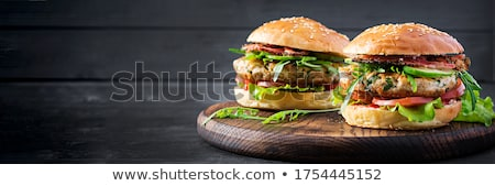 Stock fotó: Hamburger · szendvics · étel · asztal · sajt · vacsora
