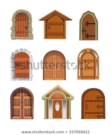 eski · kahverengi · kapı · taş · giriş · ortaçağ - stok fotoğraf © tuulijumala