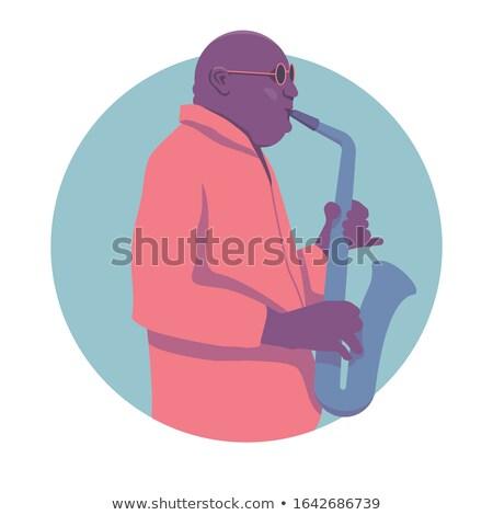 man · spelen · saxofoon · rock · goud · geluid - stockfoto © jeancliclac