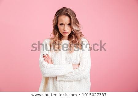 preto · e · branco · retrato · nervoso · mulher · preto · e · branco - foto stock © ichiosea