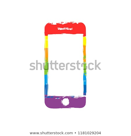 Stock photo: Mobile phone with icons, Colorful Concept of communication, love