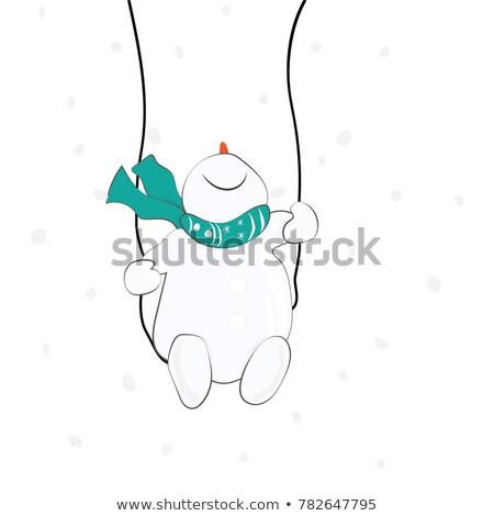 Muñeco de nieve swing Navidad ilustración vector Foto stock © derocz