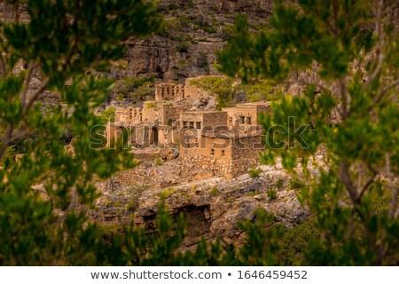 Kilátás sár kép Omán égbolt tájkép Stock fotó © w20er