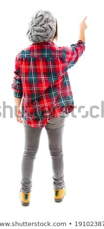 Hátsó nézet fiatal nő képek virtuális képernyő fiatal felnőtt Stock fotó © bmonteny