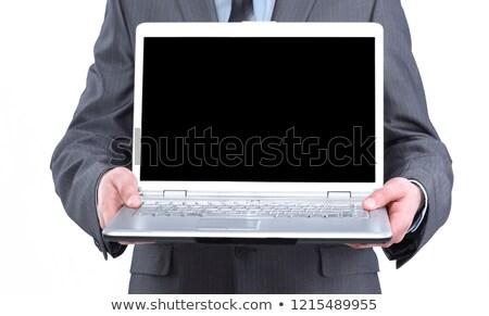 бизнесмен · открытых · ноутбук · костюм · бумаги - Сток-фото © feelphotoart