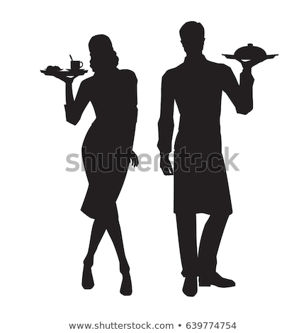 serveuse · silhouette · illustration · plateau · verres · à · vin - photo stock © slobelix