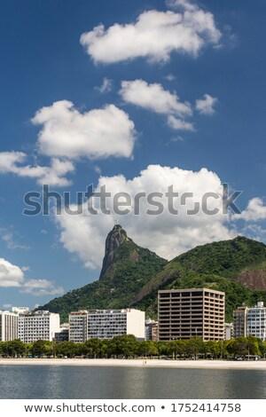 Stok fotoğraf: Kurtarıcı · İsa · arkasında · bulutlar · gün · batımı · Rio · de · Janeiro · Brezilya