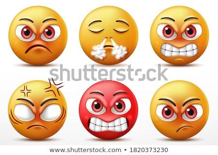 emoticon · supărat · galben · alb · ochi · negru - imagine de stoc © mariephoto