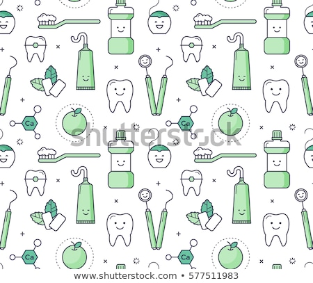 Stock photo: Seamless pattern of tooth brushes and teeth